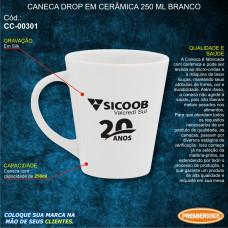 Sicoob Caneca Drop em Cerâmica 250ml Branco