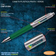 Sicoob Caneta Plástica Prata / Verde