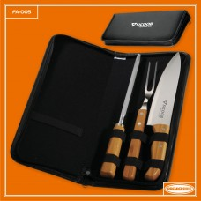 Conj. Garfo, Faca e Chaira Inox / Bambu Com Estojo Frankfurt - 4 Pçs