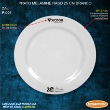 Prato Melamine Raso 25cm Branco